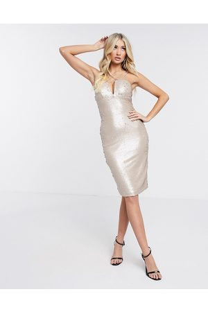 Rare Fashion London sequin strapless bodycon dress in white