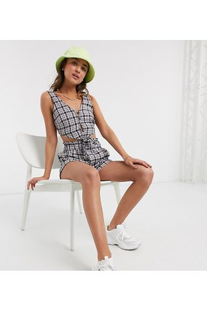 Noisy May Crop top with tie front in blue check
