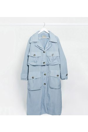 ASOS ASOS DESIGN Curve layered utility taffeta trench coat in baby blue