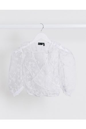 ASOS Organza wrap with burnout floral in white