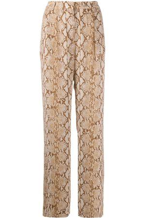 Michael Kors Mujer De piel - Pantalones anchos con motivo de piel de serpiente