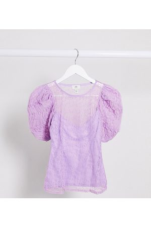 River Island Short sleeve lace puff sleeve top in lilac