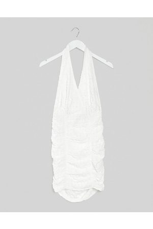 ASOS Textured halter ruched sundress in white