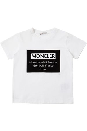 Moncler Flocked Logo Cotton Jersey T-shirt