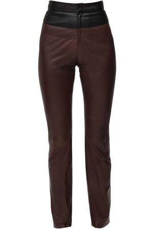 Zeynep Arcay Pantalones Bicolor De Piel