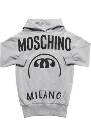 Moschino Vestido Sudadera De Algodón Con Logo Y Capucha