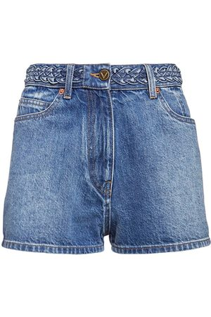 VALENTINO Signature Logo Cotton Denim Shorts
