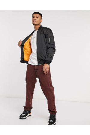 ASOS MA1 padded bomber jacket in black with orange lining