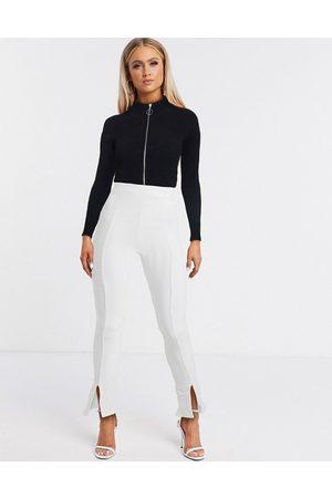 Fashionkilla Split front slim trouser in white