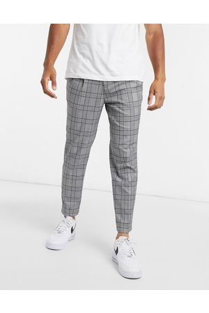 River Island Pleated smart trousers in grey check