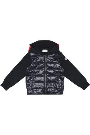 Moncler Down and cotton zip-up hoodie