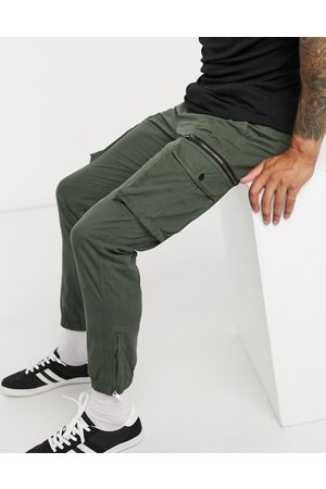 River Island Hombre Cargo - Tapered cargo trousers in khaki