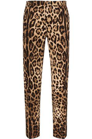 Dolce & Gabbana Pantalones de vestir con estampado de leopardo