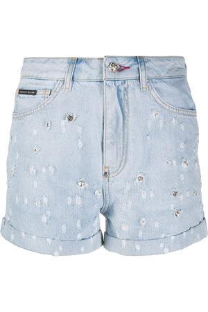 Philipp Plein Mujer De mezclilla - Shorts de mezclilla con apliques de cristal