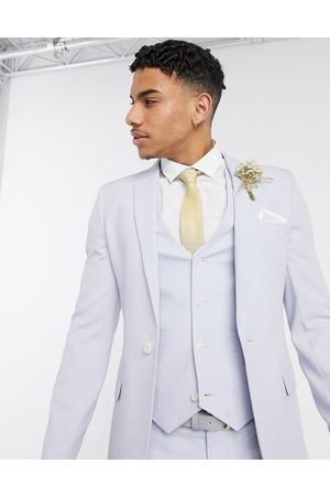 ASOS Wedding super skinny suit jacket in lilac crosshatch