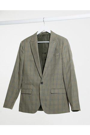 River Island Slim fit suit jacket in brown heritage check