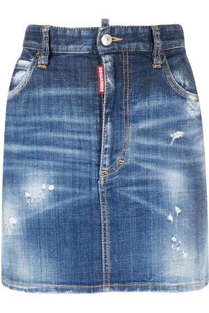 Dsquared2 Falda de mezclilla ajustada con logo estampado
