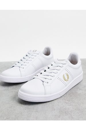 Fred Perry B721 gold detail leather trainers in white