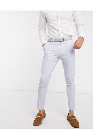 ASOS Wedding super skinny suit trousers in lilac crosshatch