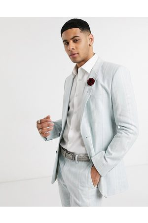 ASOS Wedding skinny suit jacket in stretch cotton linen in blue and white stripe