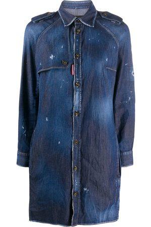 Dsquared2 Vestido camisero con efecto envejecido y botones