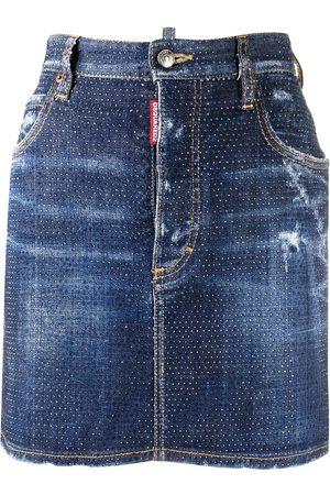 Dsquared2 Falda de mezclilla con detalles de cristal
