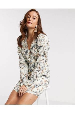 Y.A.S Mini dress with v neck and long sleeves in floral print