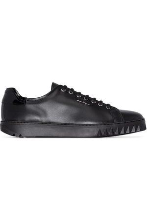 Salvatore Ferragamo Black Cube leather sneakers
