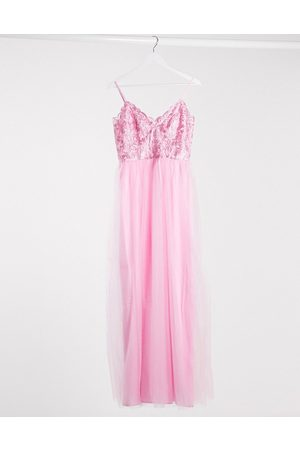 Chi Chi London Plunge maxi dress in rose