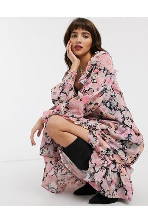 ASOS Maxi dress with frills in bright floral print