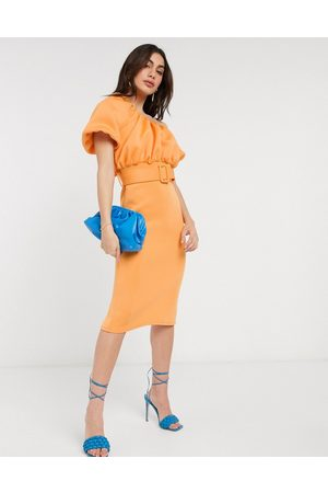 ASOS One shoulder bubble neckline belted midi dress in apricot