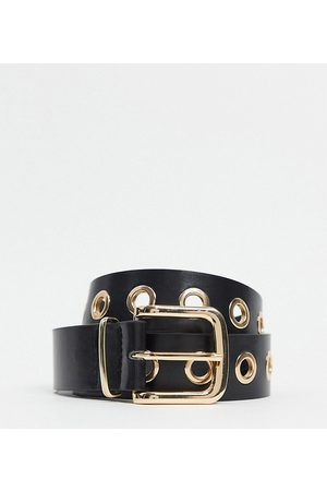 My Accessories London Exclusive gold eyelet waist and hip jeans belt in black
