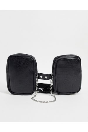 ASOS Chest harness bag in black faux leather croc emboss and chain detail