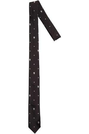 Alexander McQueen Corbata De Seda Con Calaveras Bordadas 5cm
