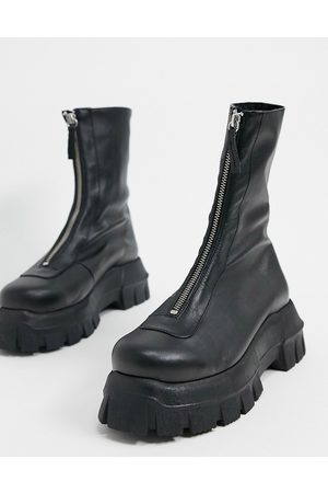 ASOS Apricot premium leather chunky zip front boots in black