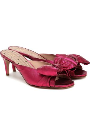 RED(V) Metallic leather sandals