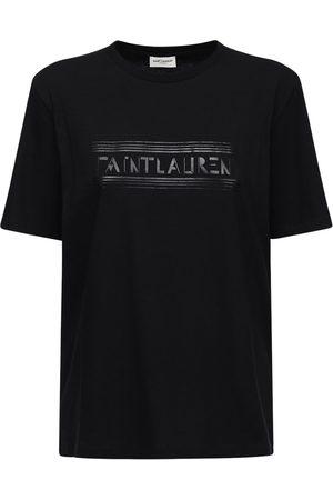 Saint Laurent Logo Print Cotton Jersey T-shirt