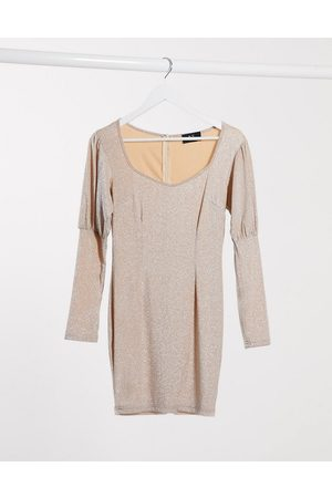 Ax Paris Puff sleeve mini dress in metallic light pink