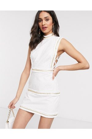 ASOS Embroidered mini dress with fringe and chain detail in Cream