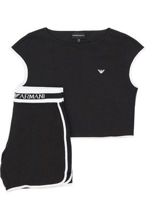 Emporio Armani Camiseta De Algodón Y Shorts Deportivos