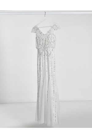 Frock and Frill Frock & Frill embellished v neck maxi dress in ivory
