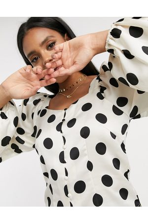 Vero Moda Blouse with square neck in white polka dot