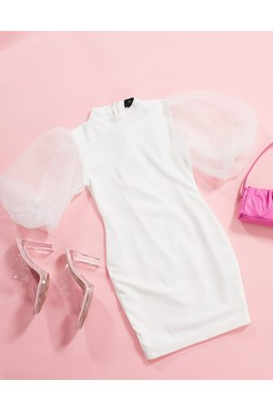 Ax Paris Organza puff sleeve mini dress in white