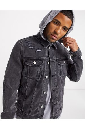 ASOS Denim jacket in washed black with rips