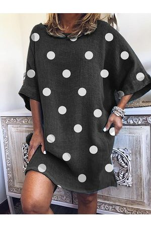YOINS Casual Polka Dot Short Sleeves Round Neck Mini Dress