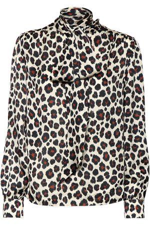 Saint Laurent Camisa De Satén Con Estampado De Leopardoo Y Lazo