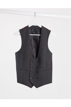 ASOS Wedding super skinny wool mix suit waistcoat in charcoal herringbone