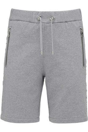 Balmain Shorts De Jersey De Algodón Con Logo