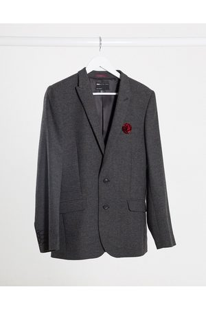 ASOS Wedding super skinny wool mix suit jacket in charcoal herringbone