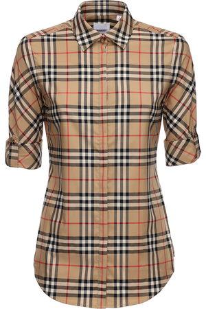 Burberry Camisa De Algodón Stretch A Cuadros